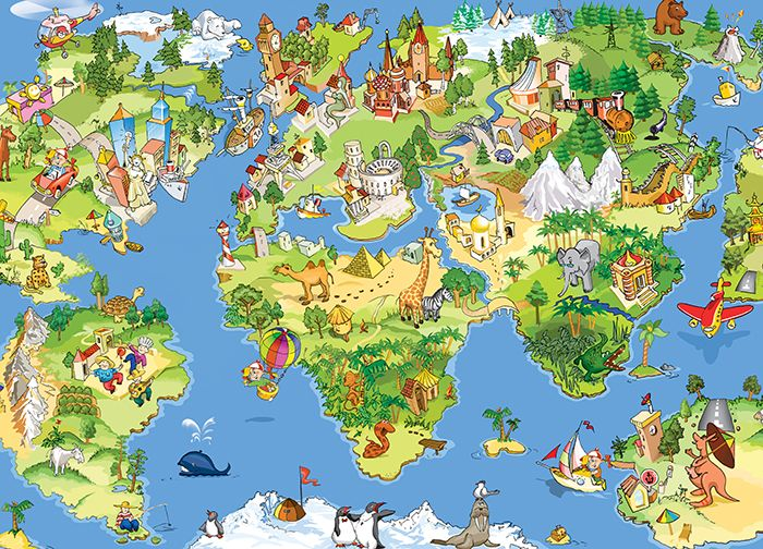 Kids Map of the world wallpaper murals by Homewallmurals